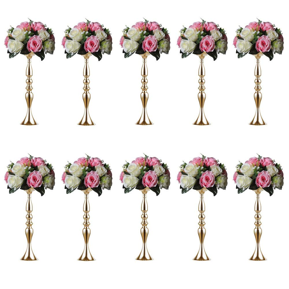 Sziqiqi 10 Pieces 50 Height Metal Candle Holder Candle Stand Wedding Centerpiece Event Road Lead Flower  sc 1 st  Amazon.com & Wedding Vases Bulk: Amazon.com