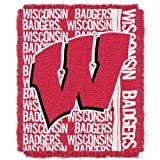 NORTHWEST NCAA Wisconsin Badgers Woven Jacquard Throw Blanket, 48' x 60', Double Play