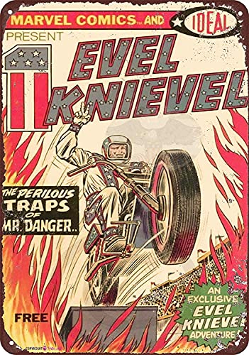 KSFEITING Retro Metal tin Sign Evel Knievel Comic Book Vintage Sign Movie Poster Sign,Cave,Bar,Club,Home Wall Art Metal Tin Sign 12 X 8 INCH