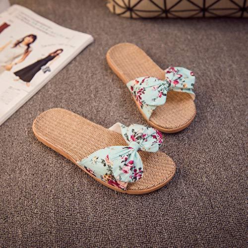 Ducha Zapatillas Antideslizantes,Zapatillas de casa de Lino para Interiores,Sandalias y Zapatillas de Moda Azul Claro_35-36,Unisex Adulto Zapatillas de baño