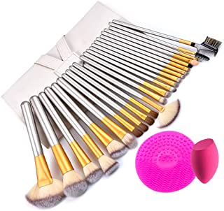 Makeup brushes 24PCS, Makeup sponge, Makeup cleaning pad and Bag. Makeup brush set includes the main Foundation brush, Blending brush, Concealer brush, Eyeshadow brush, Lip brush and more.