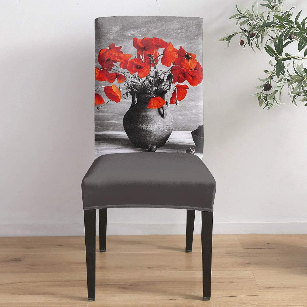Dining Room Chair Covers Set of Cheap mail order specialty store 6- and Red in Flowers Shipping included Vase Black
