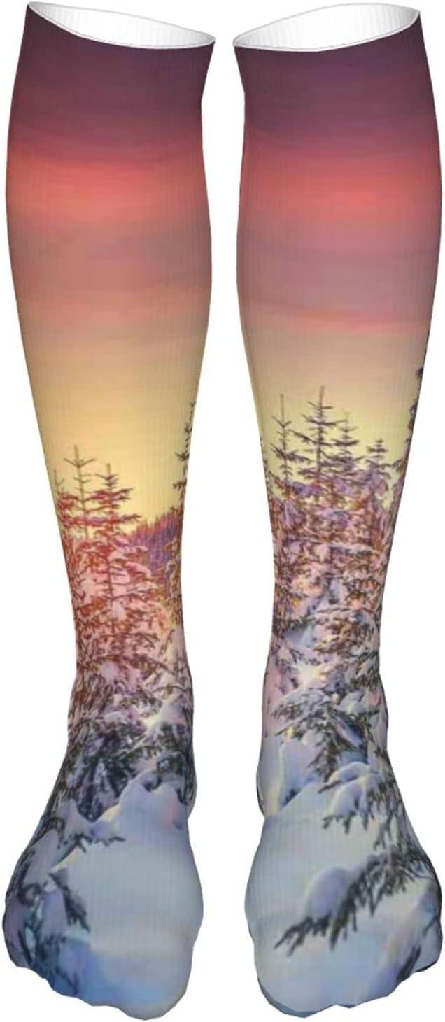 Compression OFFicial store High Socks Snowy [Alternative dealer] Landscape i Light at Gloomy Sunrise