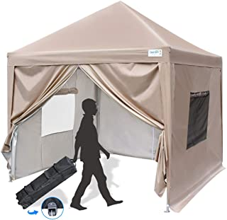 Quictent Privacy 8x8 EZ Pop Up Canopy Tent Instant Folding Party Tent with Sidewalls Mesh Windows& Wheeled Bag Waterproof -Beige