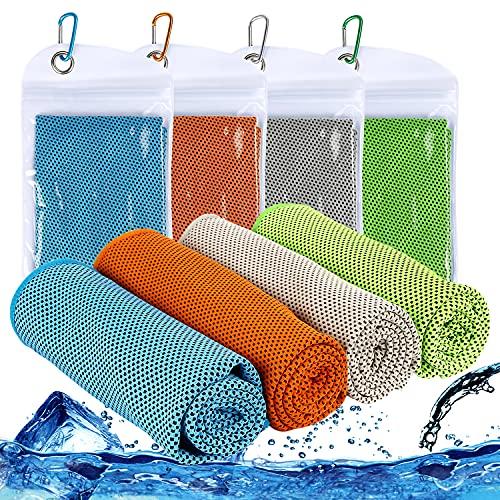 Augsun 4 toallas de enfriamiento a presión de 40 x 12 pulgadas, toalla deportiva súper absorbente para cuello, fitness, yoga