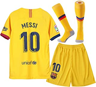 10 Messi Shirt 2019-2020 Season - Barcelona Lionel Messi Away Soccer T Shirt Shorts and Socks for Kids Youth Yellow