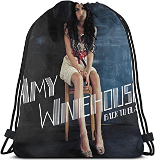 Lawenp Amy Winehouse Back to Black Mochila con cordón Cinch Poliéster a Granel Bolsas de Hilo Impermeables para Deportes Gimnasio Yoga Natación Viajes