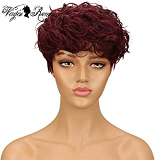 QVR Short Curly Pixie Cut Wigs for Black Women Human Hair 99J Natural Wave Bob Wigs with Bangs None Lace Wigs All Machine Made Fashion Wigs Wine Red Wigs Burgundy