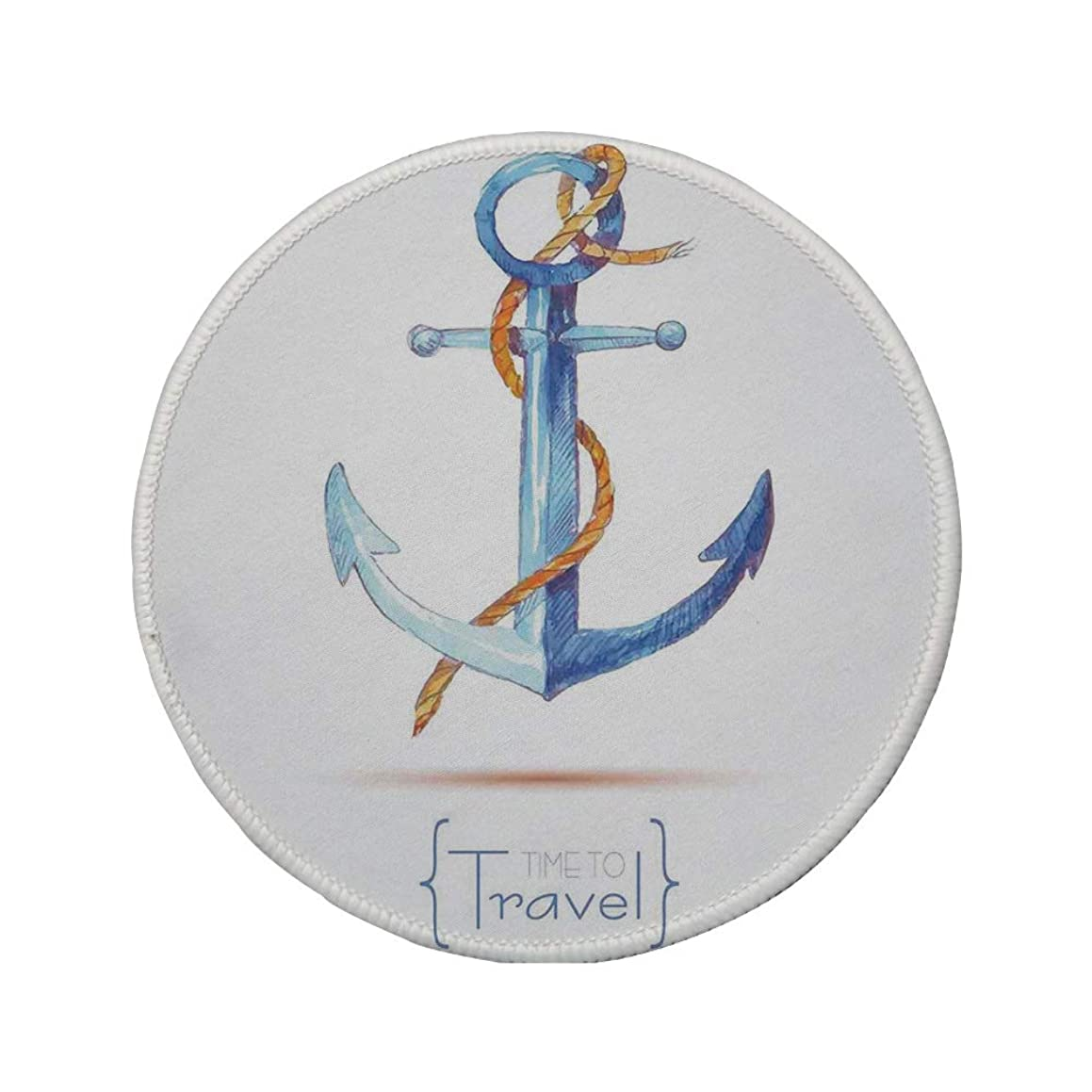 Non-Slip Rubber Round Mouse Pad,Anchor Decor,Watercolors Anchor Rope Time to Travel Naval Classic Sail Emblem Drogue Voyage,Blue White Brown,11.8