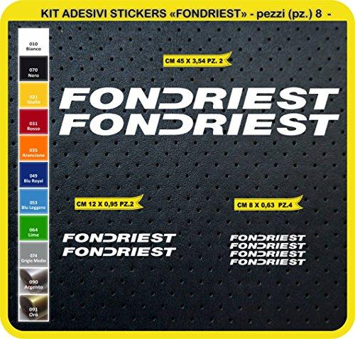 Adesivi Bici FONDRIEST Kit Adesivi Stickers 08 Pezzi -Scegli SUBITO Colore- Bike Cycle pegatina cod.0796 (010 Bianco)