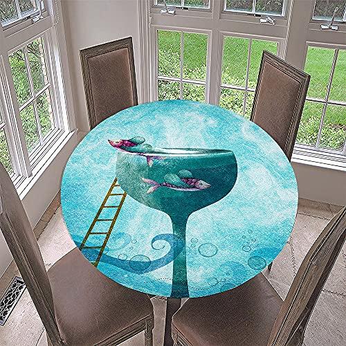 Fansu Impermeable Redondo Mantel con Borde Elástico, 3D Dibujos Animados Impresión Mantel de Mesa Elástica Ajustada Cubierta de Mesa