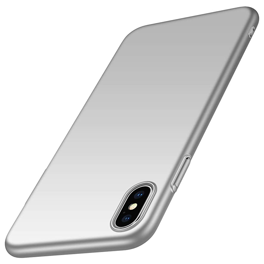 Kqimi Case for iPhone Xs/iPhone X [Ultra-Thin] Hard Plastic PC Premium Material Full Protection Cover iPhone Xs 2018/iphone X 2017 (Silver)