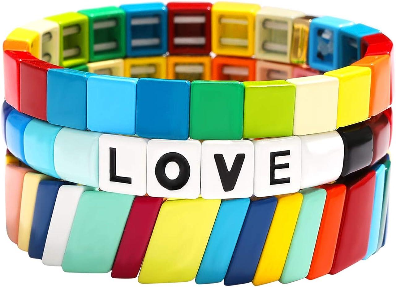 SHAMARTE Rainbow Enamel Tile Beads Stretch Bracelet Colorful Ena