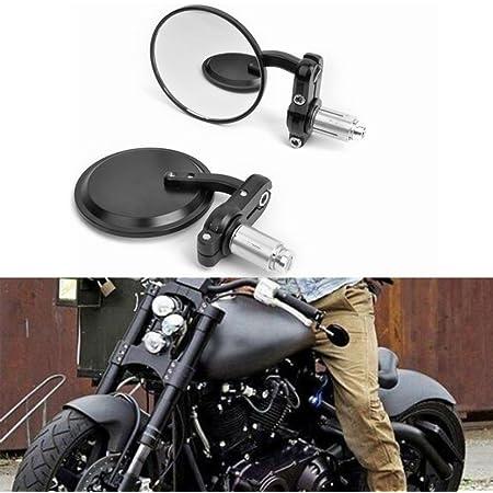 Paar Lenkerendenspiegel Rund Seitenspiegel Motorrad Rückspiegel Für 7 8 22mm Universal Schwarz Auto