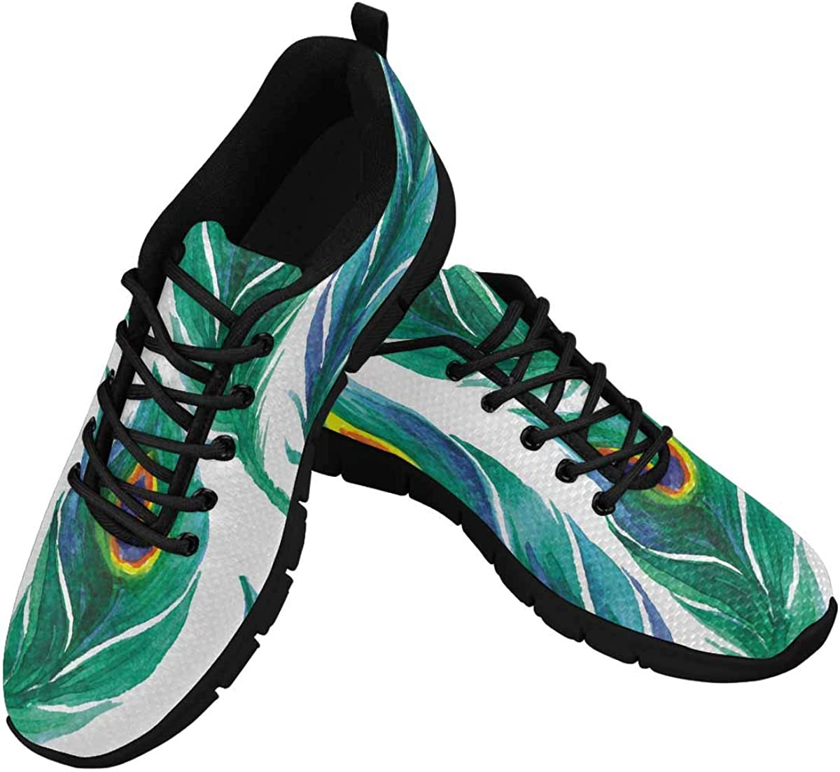 INTERESTPRINT Peacock Feather Women's Lightweight Athletic Casual Gym Sneakers