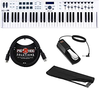 Arturia KeyLab Essential 61 Universal MIDI Controller and Software with 6ft MIDI Cable, Sustain Pedal & Keyboard Dust Cover (Medium) Bundle