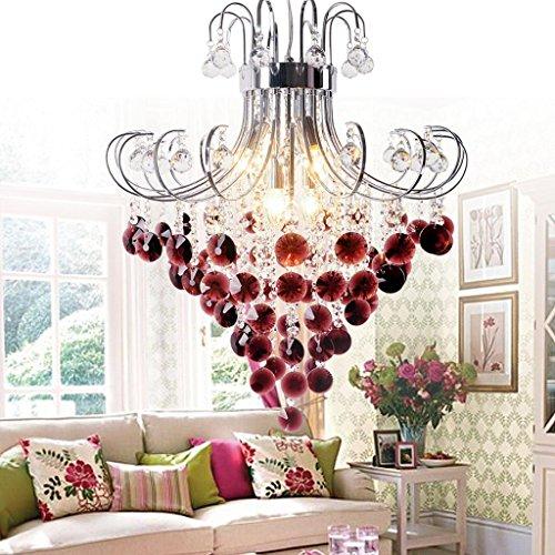 Luxus Hängelampe Kristall-Pendelleuchte E14 Moderne Runde Design Leuchte Anhänger Kristall Rote kronleuchter Innen Decke Beleuchtung Kristalllampe Hängeleuchte für Wohnzimmer Decor Lüster, Ø 60 cm