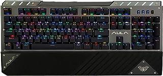 AULAプロのゲーミングメカニカルキーボード、金属パネル、RGBバックライト、プロの青い軸、104フルキー非衝突、USB接続、マルチダイナミックライティングモード、取り外し可能アームレスト付き、高性能ゲーミングチップ、WINDOWS/MAC OS(2030) (黒)