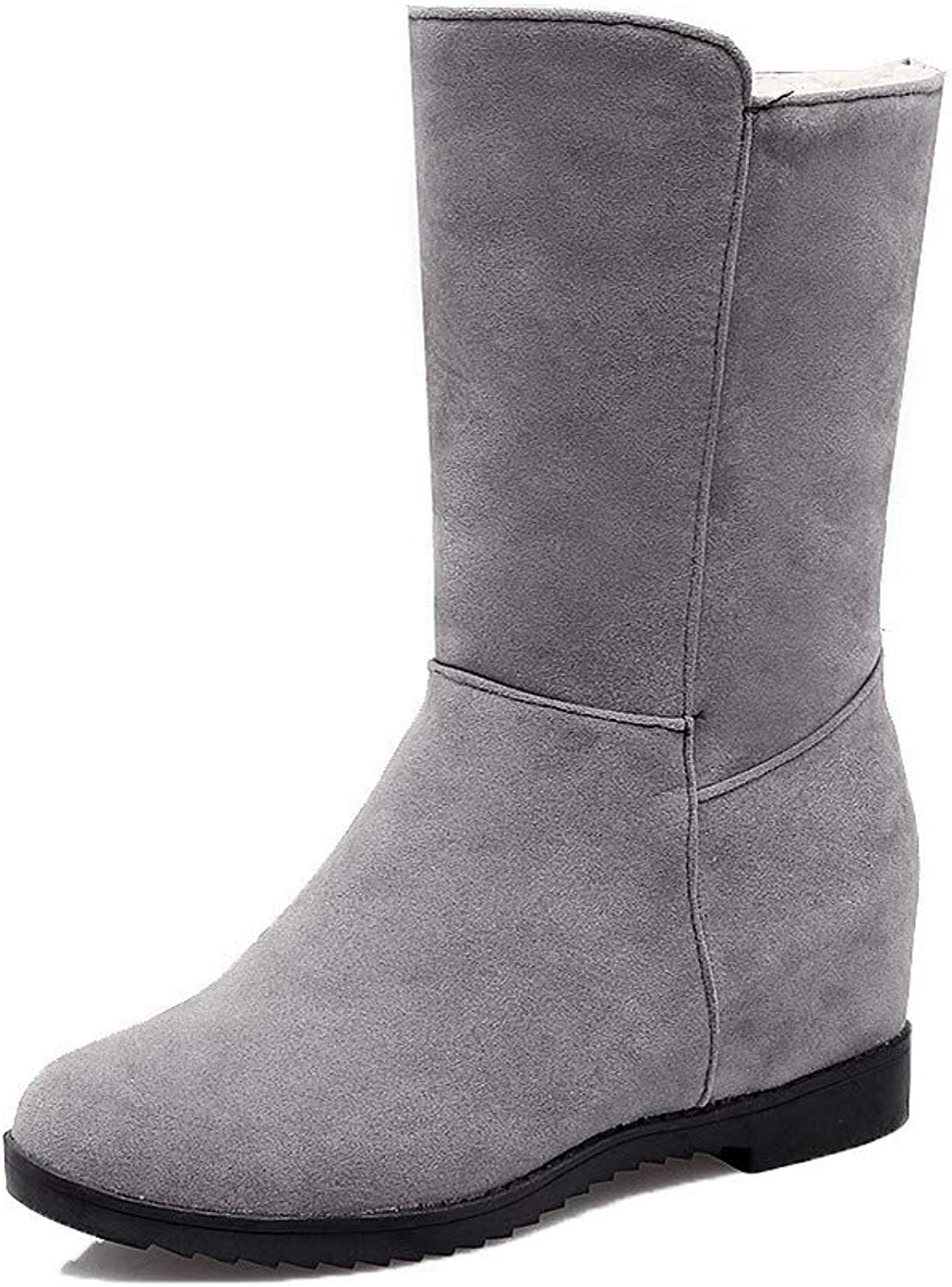 WeiPoot Women's Pull-On Round-Toe Kitten-Heels Frosted Low-Top Boots, EGHXH117106