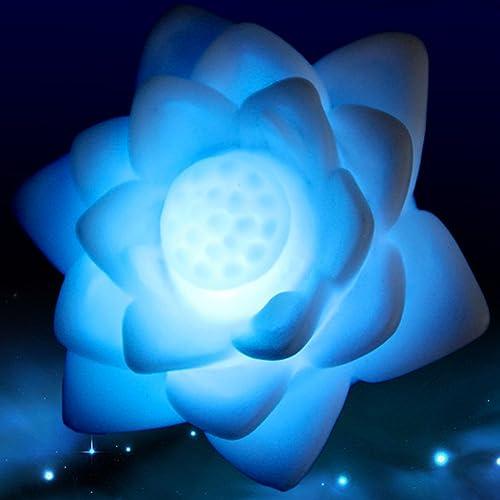 Luz LED con diseño de flor de loto y 7 colores cambiantes. Luz solar flotante