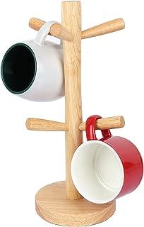 Fecihor Cup Holder Tree Stylish Wooden Mug Tree for Storage Coffee Tea Cup with 6 Hooks