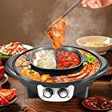 Hot Pot Portable Electric Grill, Kacsoo Fast-Cooking Non-Stick Griddle 2 in 1 , Upgraded 2200W Smokeless Electric BBQ Plate Indoor Outdoor Party, Intelligent Temperature Control, Easy to Clean, Black
