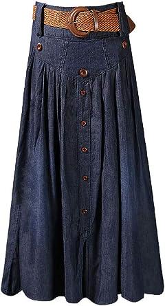S.CHARMA Femme Jupe trapèze Section Moyenne et Longue Jupe plissée Tempérament Grande Jupe Ceinture Ceinture