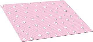 Drymate Puppy Crate or Kennel Mat with Paw Print Design, 15 by 22-Inch, Pink