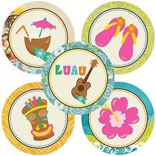 Adorebynat Party Decorations - EU Etiqueta Luau Party Sticker - Cumpleaños del verano de bienvenida al bebé Fiesta nupcial de la boda - conjunto 50