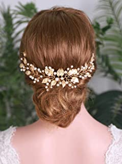 YERTTER Wedding Leaf Pearl Gold Hair Vine Handmade Headband Headpiece Bridal Hair Accessories
