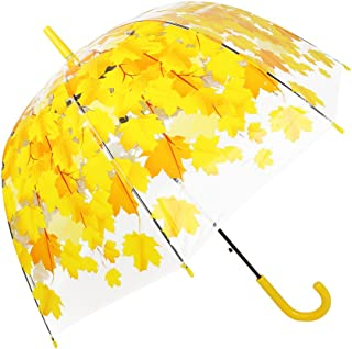 Half Automatic Transparent Umbrella, Clear Cherry Blossom and Leaf Bubble Dome Shape Rain Umbrella for lady women (Yellow leaves)