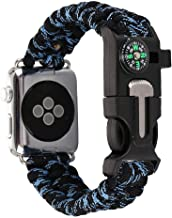 Woven Nylon Rope Paracord Wrist Band Compatible with Apple Watch, Replacement Compass Sport Strap Bracelet Watch Band Outdoor Survival Tools for iWatch Serise 1 2 3 4 (Black+Blue, 38mm)