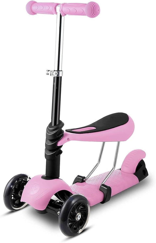 HTRTH Niños niños de 3 Ruedas Mini Scooter con Mango Ajustable T-Bar & Seat de 3-10 años de Hierro y plástico 902 (Color : Pink)
