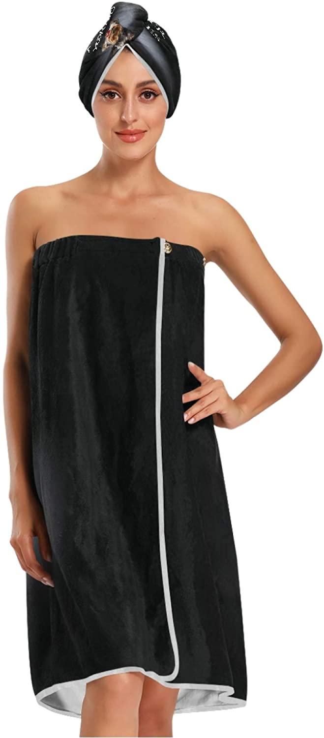 Yorkie Bath Max 42% OFF Towel Wrap with Dry Oakland Mall Shower Hair Clos Adjustable Cap