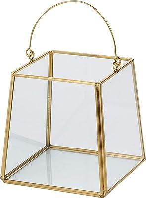 東京堂 ガラス花器 黄/金 縦横 約11.5×高さ 約12cm、全高 約19cm(取っ手含む) アンティークガラストラぺS GG000345