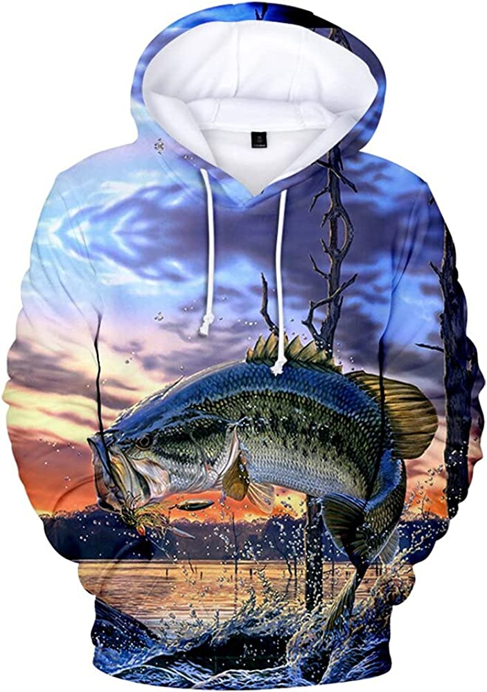 DIUNAXING Digital Fish Hoodie 3D Long Columbus Mall Women Quantity limited Men Tracksuit Sleeve