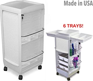 C180E-6 Trays Medical Dental Physician White Lockable Roll-About Utility Cart Made in USA