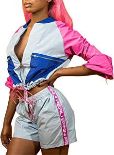 Women's Sexy 2 Piece Block Outfits Long Sleeve Zip up Crop Top & Short Pants Set