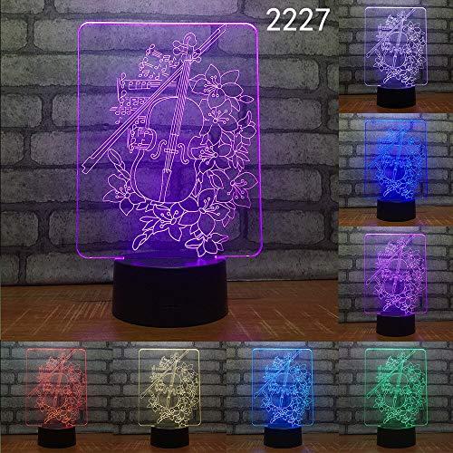 Musikgitarre Harfe Musikinstrument 3D Nachtlicht Acryl Stereo Illusion LED7 / 16 Farbe Fernbedienung USB Kind Freund Geschenk Spielzeug