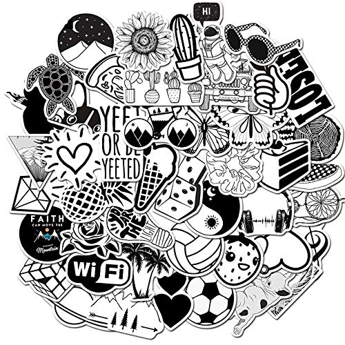 LSPLSP Pegatinas de graffiti negro y blanco impermeables desmontables de la maleta del monopatín de las etiquetas engomadas decorativas juguetes al por mayor/50pcs