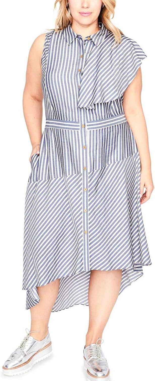 Rachel Rachel Roy Womens Plus Metallic Striped Shirtdress
