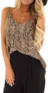 Womens Printing Tank Top FAPIZI Serpentine V-Neck Sleeveless Camisole Vest Soft Casual Blouse