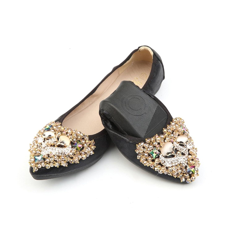 [サニーサニー] パンプス ローヒール 婦人靴 可愛い ペタンコ フラットシューズ 柔らかい 折りたたみ 結婚式 大きいサイズ バレーシューズ ベルベット キラキラ 軽い 快適 お出かけ フォーマル オシャレ ビジュー付き