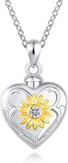 ACJFA Sunflower Urn Pendant Necklace 925 Sterling Silver Cremation Jewelry for Ashes Necklace Always in My Heart Memorial Jewelry Gift for Women