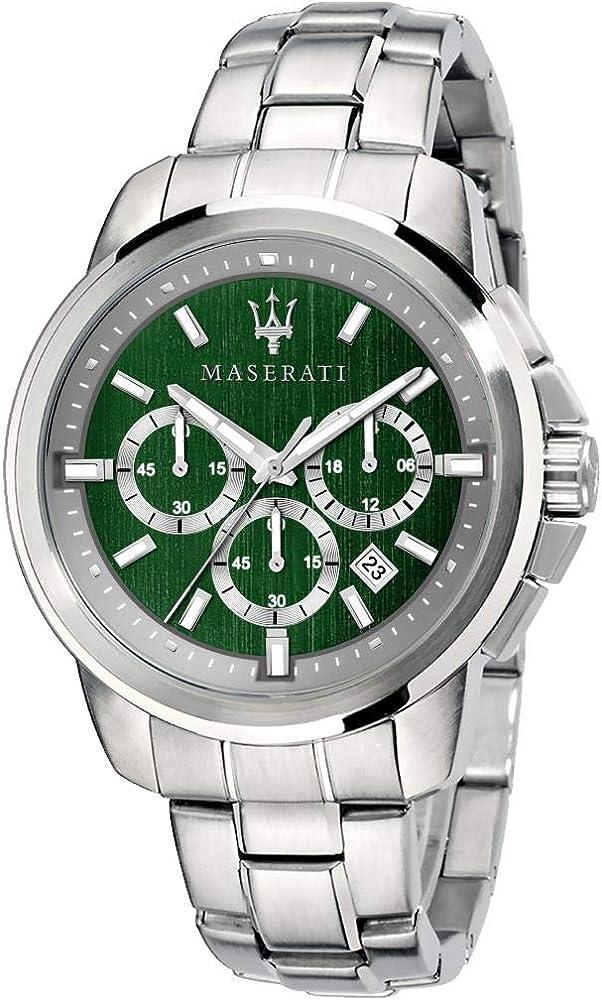 Maserati orologio cronografo da uomo, collezione successo in acciaio 8033288880448