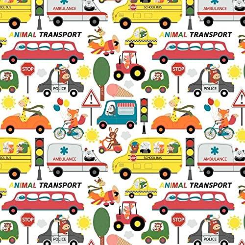 11,99 €/m auto edilizia polizia vigili del fuoco 100% cotone tessuto per bambini, vendita al metro, tessuto per il cucito (animali di automobili, animali domestici, trasporto animale, 100 x 160 cm