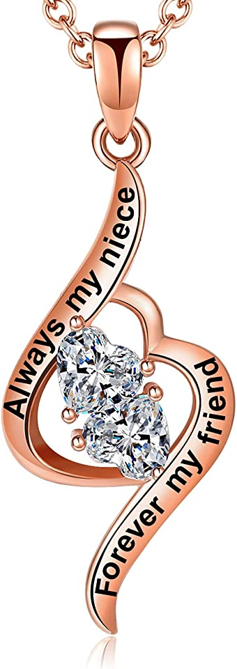 Aihitero Mother's Day Gift for Niece, Always My Niece Forever My Friend Love Heart Pendant Necklace, Fashion Jewelry for Women and Girl, Her Birthday Anniversary Christmas Present from Aunt and Uncle