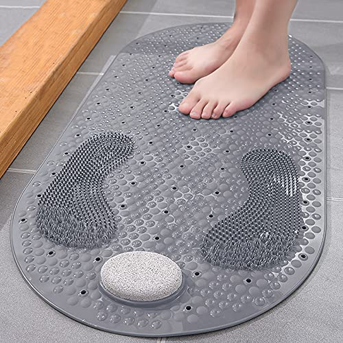 Shower Foot Scrubber Mat with Natural Pumice Stone, Oval Anti Slip Bathtub Mat Massager with Suction Cups Drain Holes, Non-slip Exfoliating Feet Scrub Massage Bath Tub Mat, 32 X 16 inch
