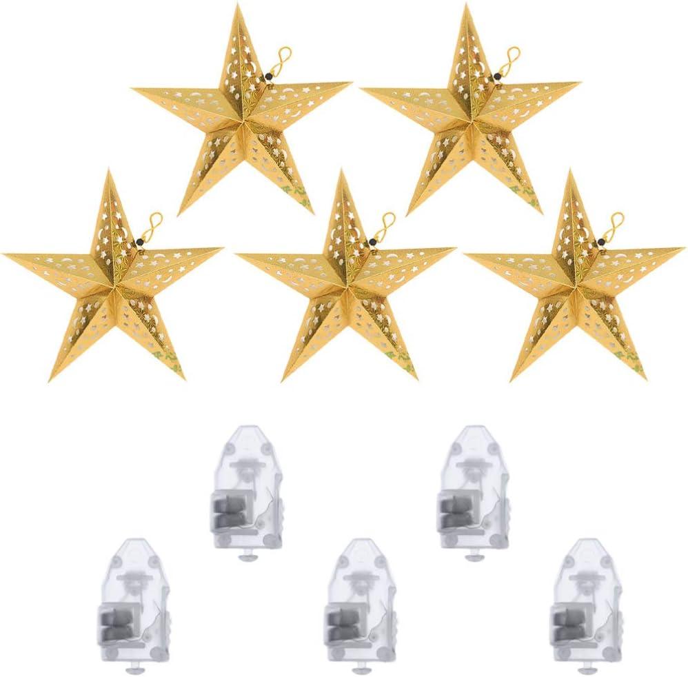Minkissy 10 Pcs De Papier De No/ël /Étoile Lanterne Abat-Jour 3D /Étoile Suspendue Ornement LED Lumi/ère F/ête De No/ël D/écorations Suspendues 45 Cm Argent