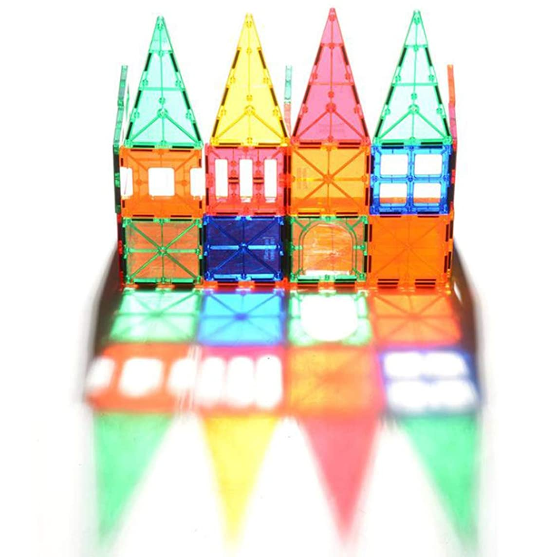 WXIAORONG Magnetic Piece Building Block,100 PCS Preschool DIY Assembled Building Blocks Transparent Color Construction Assembled Children's Educational Toys